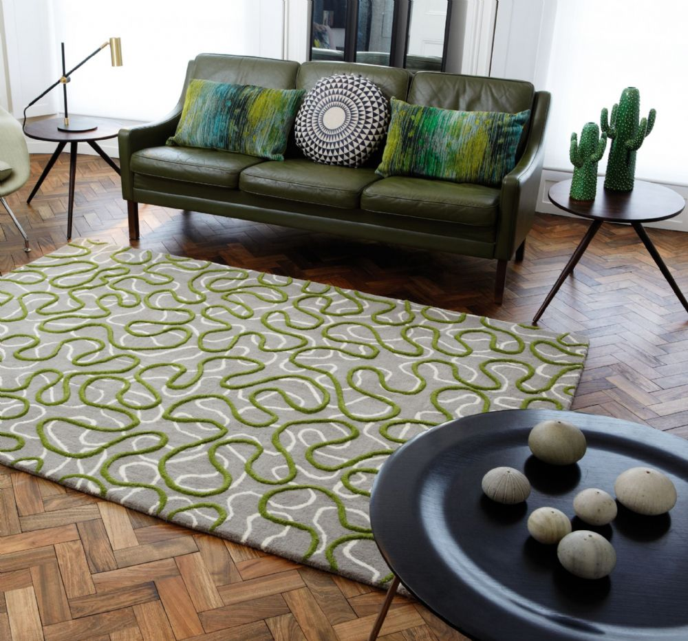 Squiggle Green 100% Wool Rug